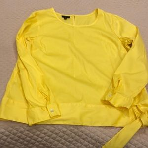 Talbots yellow side tie blouse MP